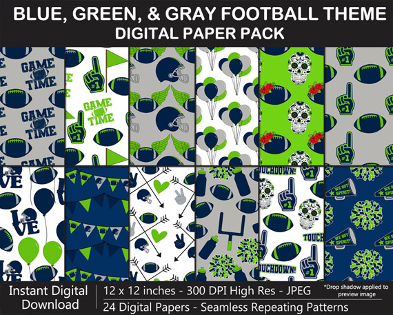 Love these fun football digital papers - Blue, Green, and Gray Football Team