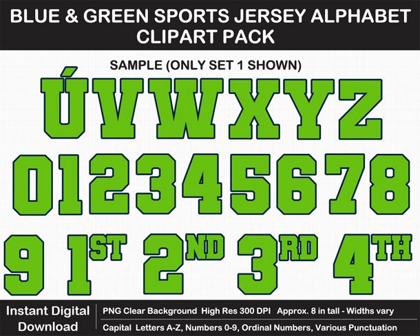 Love these fun Blue and Green Sports Jersey Alphabet Clipart for Sign Making - Letters, Numbers, Punctuation - Go Seahawks!