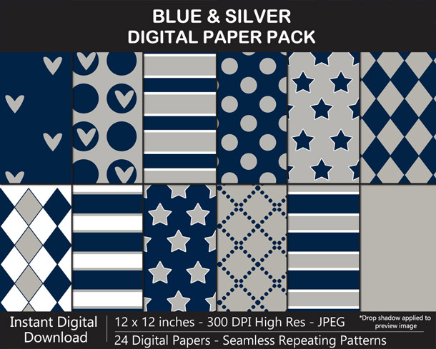 Love these fun blue and silver digital papers!