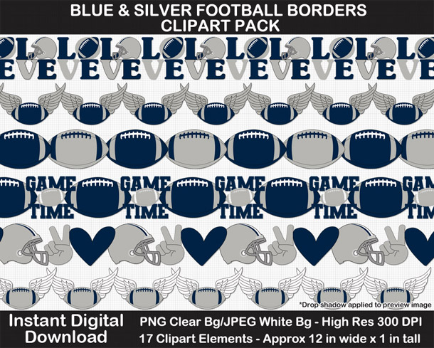 Love these fun blue and silver football borders for scrapbooks, signs, and bulletin boards. Go Cowboys!
