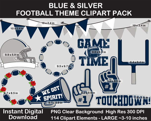 Love these fun Blue and Silver Football Theme Clipart - Letters, Numbers, Punctuation - Go Cowboys!