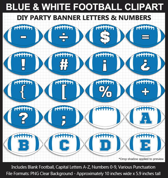 Love these fun Blue and White Football clipart for game day decoration - Letters, Numbers, Punctuation - Go Lions!
