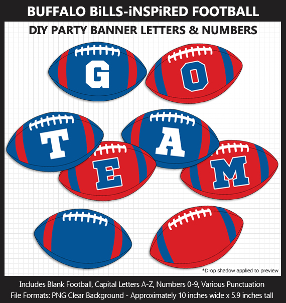 Love these fun Buffalo Bills Football clipart for game day decoration - Letters, Numbers, Punctuation