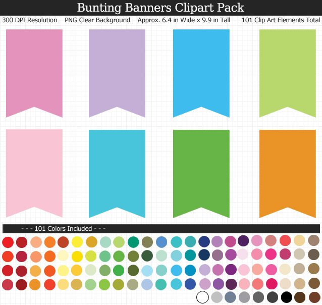 100 Colors Bunting Banners Clipart Pack