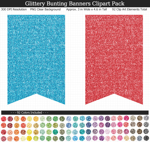 Rainbow Glitter Bunting Banners Clipart Pack - Clear Background PNG - Large 3 inches Wide x 4.6 inches Tall Resizeable - 92 Colors