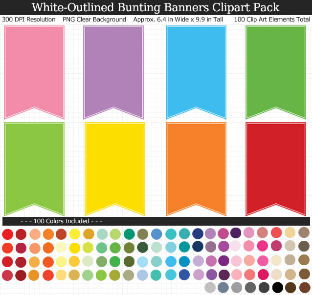 White-Outlined Bunting Banners Clipart Pack