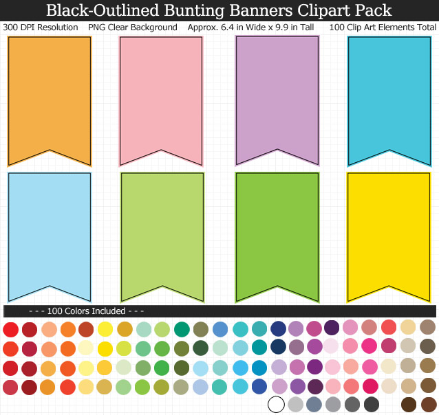 Black-Outlined Bunting Banner Clipart Pack