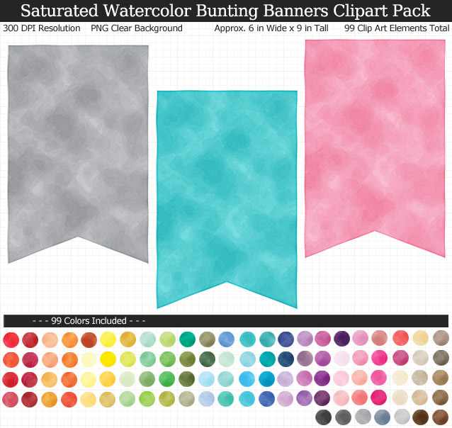 Saturated Watercolor Bunting Banners Clipart Pack