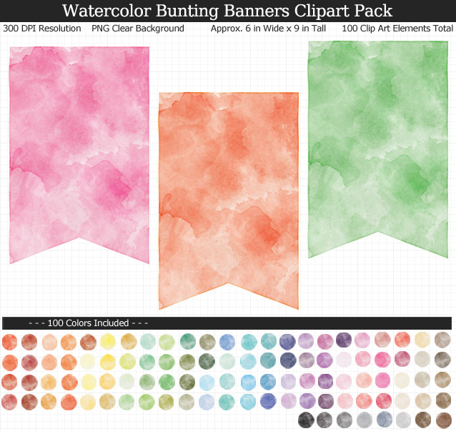 Rainbow Watercolor Bunting Banners Clipart Pack - Clear Background PNG - Large 6 inches Wide x 9 inches Tall Resizeable - 100 Colors