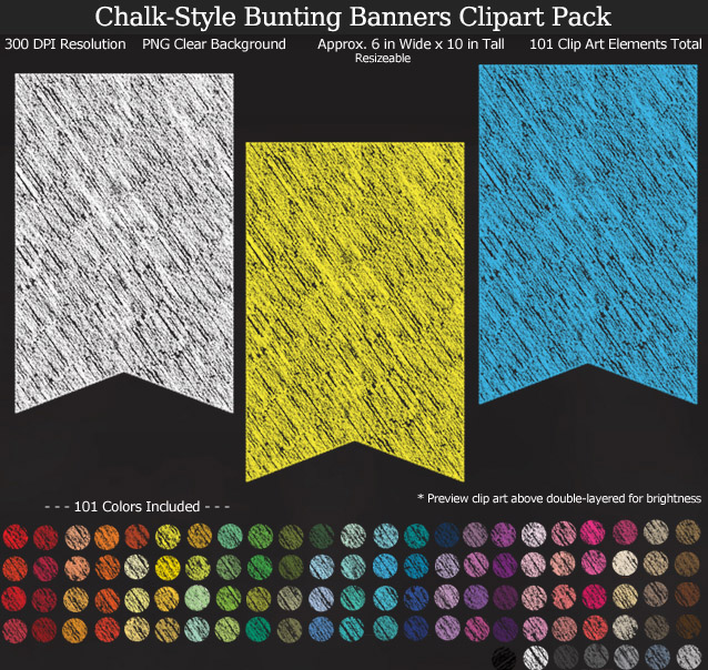 Rainbow Chalk Bunting Banners Clipart Pack - Clear Background PNG - Large 6 inches Wide x 10 inches Tall Resizeable - 101 Colors