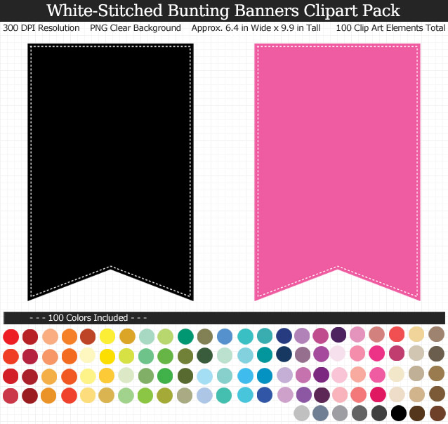 White-Stitched Bunting Banners Clipart Pack