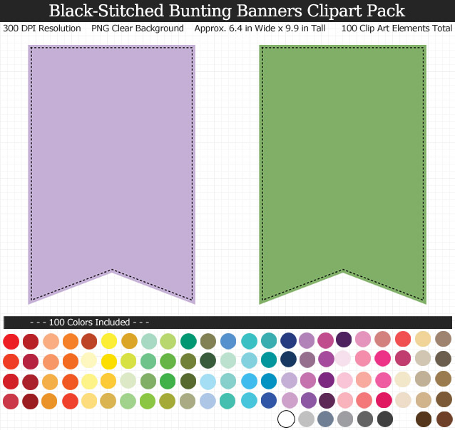 Rainbow Bunting Banners Clipart Pack - Clear Background PNG - Large 6 inches Wide x 9 inches Tall Resizeable - 100 Colors