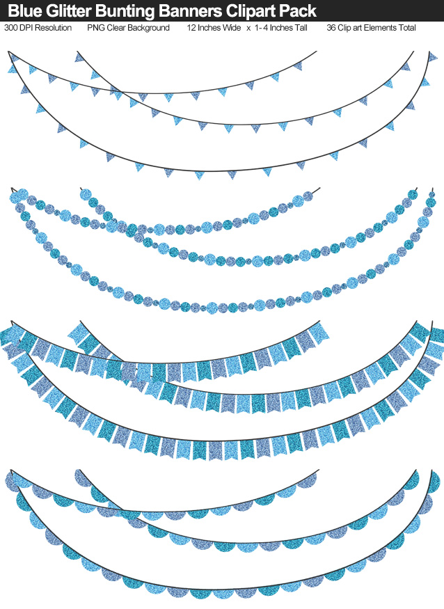 Blue Glitter Bunting Banner Clipart Pack - Clear Background PNG - Large 12 Inches Resizeable