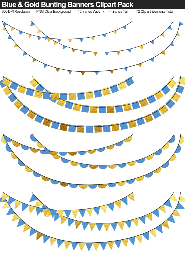 Blue and Gold Bunting Banner Clipart Pack - Clear Background PNG - Large 12 Inches Resizeable