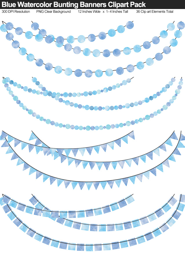 Blue Watercolor Bunting Banner Clipart Pack - Clear Background PNG - Large 12 Inches Resizeable