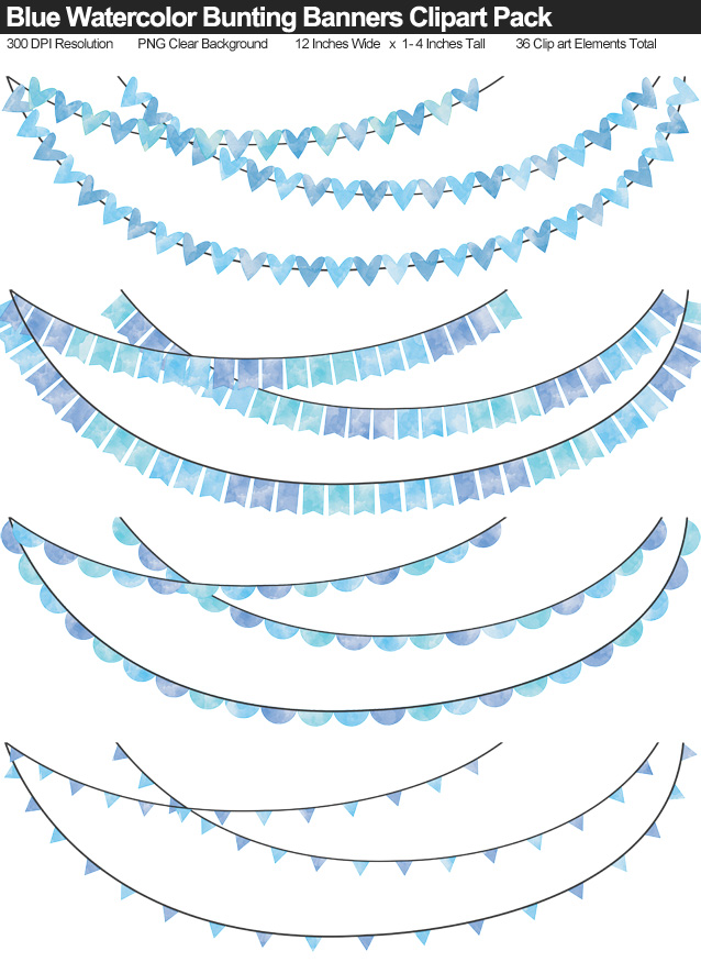 Blue Watercolor Bunting Banner Clipart Pack