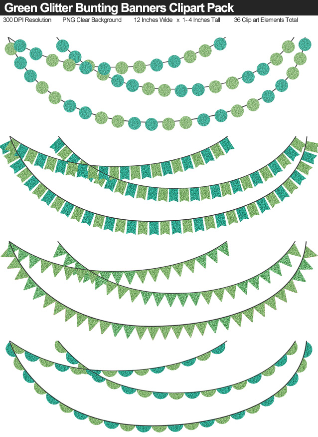Green Glitter Bunting Banner Clipart Pack - Clear Background PNG - Large 12 Inches Resizeable