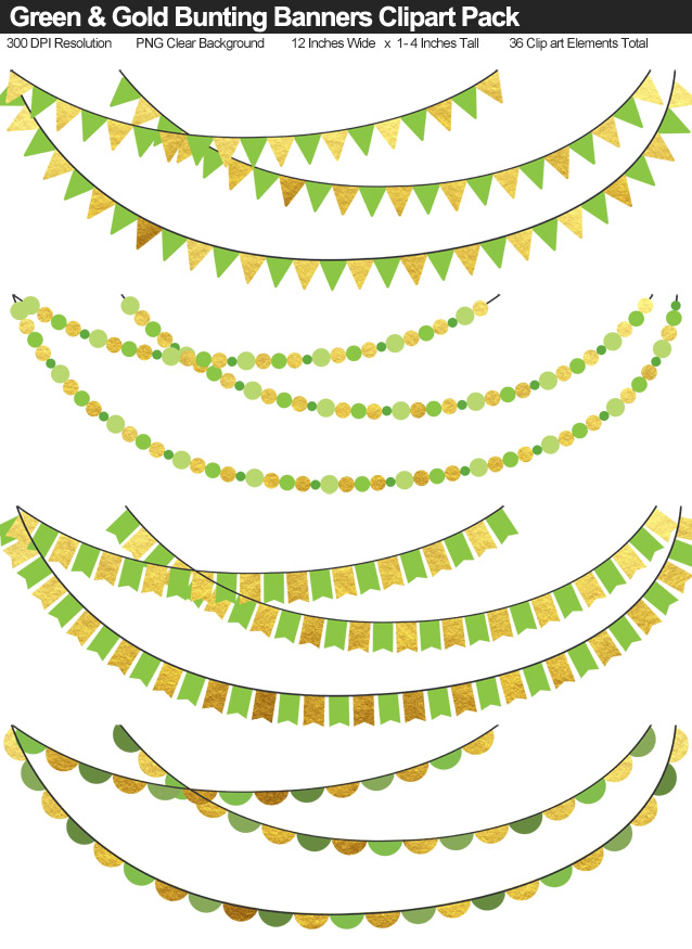 Green and Gold Bunting Banners Clipart Pack