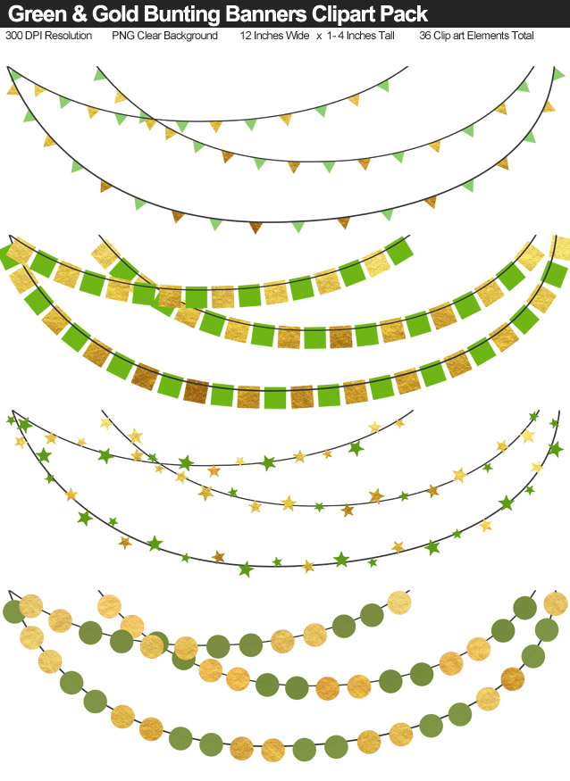 Green and Gold Bunting Banner Clipart Pack - Clear Background PNG - Large 12 Inches Resizeable
