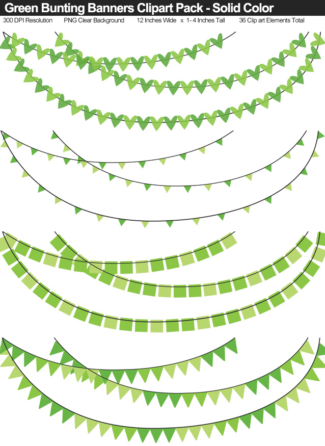 Solid Color Green Bunting Banner Clipart Pack - Clear Background PNG - Large 12 Inches Resizeable