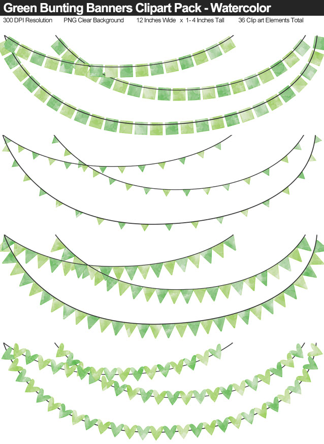 Green Watercolor Bunting Banner Clipart Pack - Clear Background PNG - Large 12 Inches Resizeable