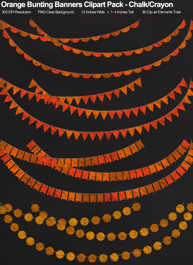 Orange Chalk/Crayon-Style Bunting Banner Clipart Pack - Clear Background PNG - Large 12 Inches Resizeable
