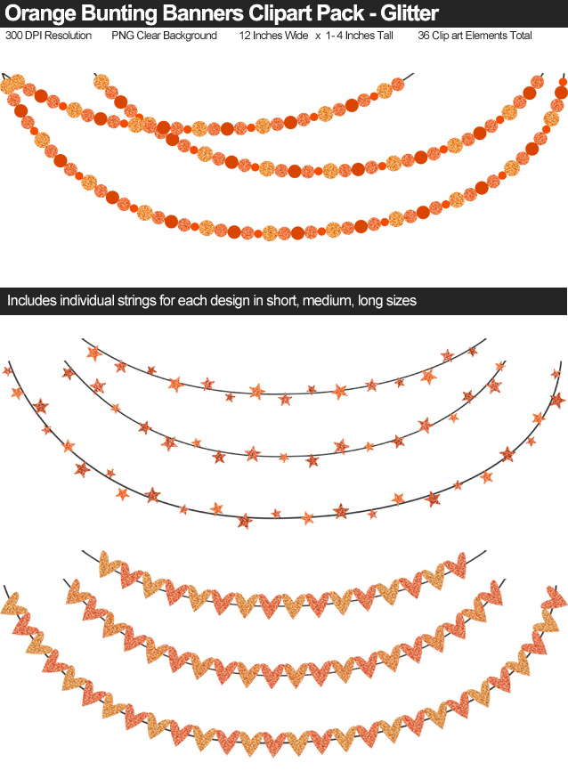 Orange Glitter Bunting Banner Clipart Pack - Clear Background PNG - Large 12 Inches Resizeable