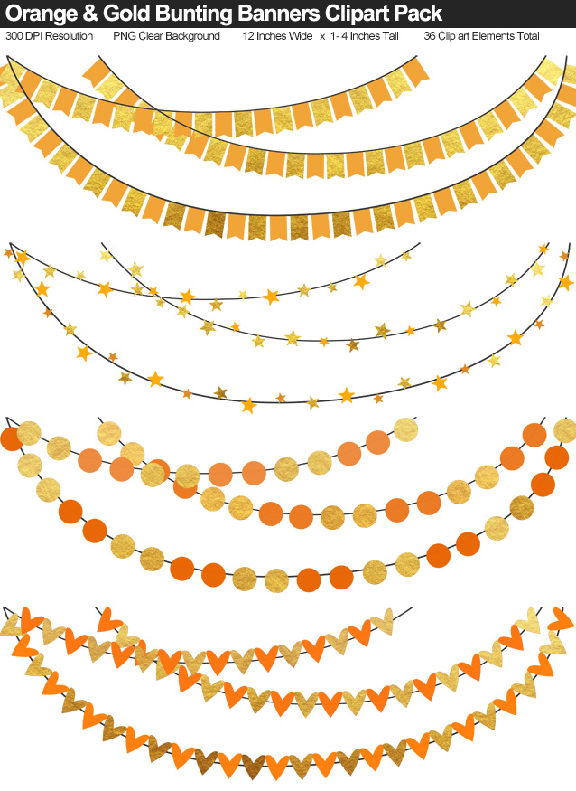 Gold and Orange Bunting Banner Clipart Pack - Clear Background PNG - Large 12 Inches Resizeable