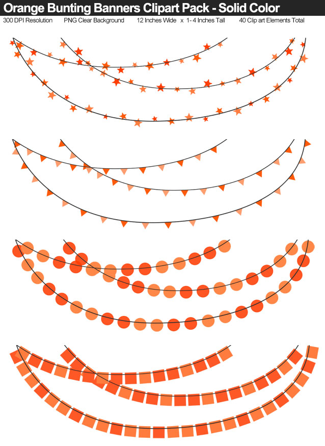 Solid Color Orange Bunting Banner Clipart Pack - Clear Background PNG - Large 12 Inches Resizeable