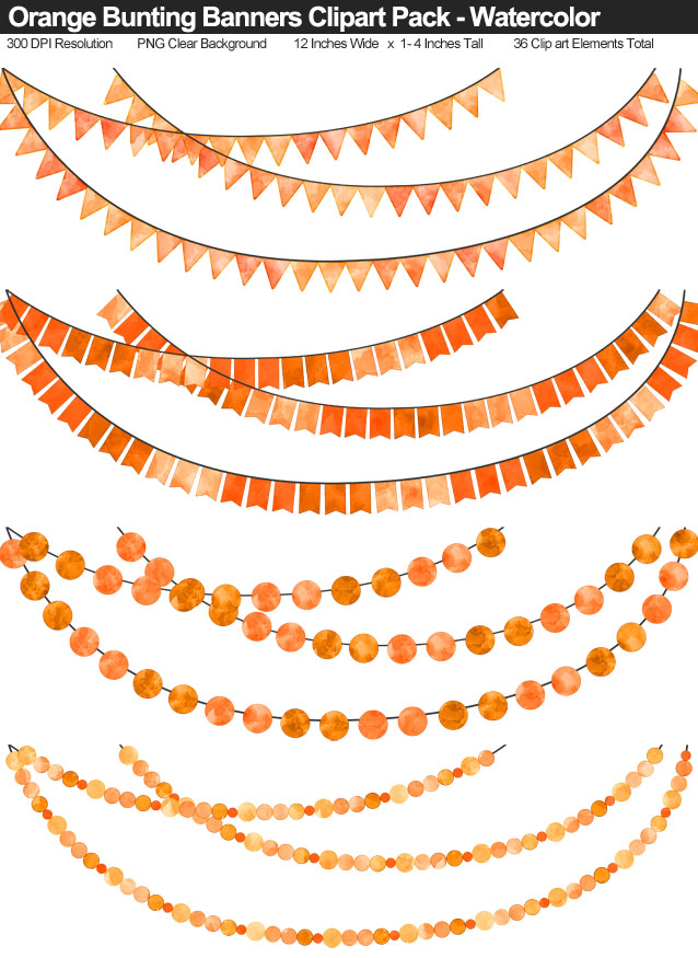 Watercolor Orange Bunting Banner Clipart Pack - Clear Background PNG - Large 12 Inches Resizeable