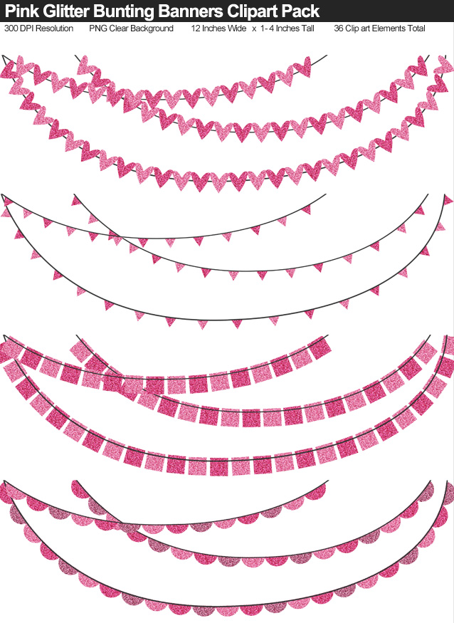 Pink Glitter Bunting Banner Clipart Pack - Clear Background PNG - Large 12 Inches Resizeable