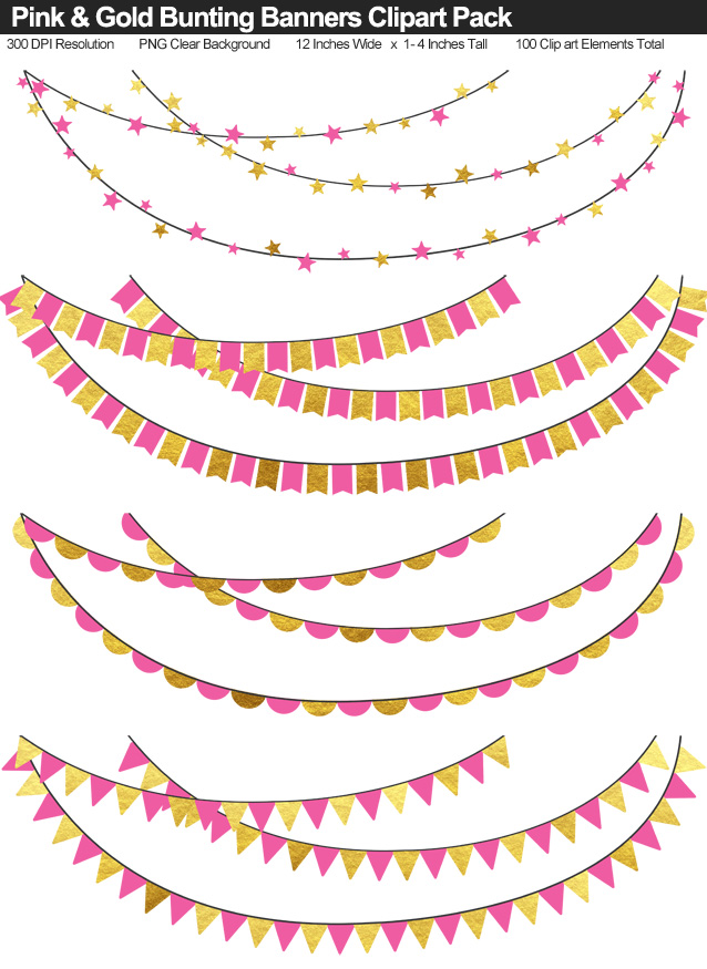 Pink and Gold Bunting Banners Clipart Pack
