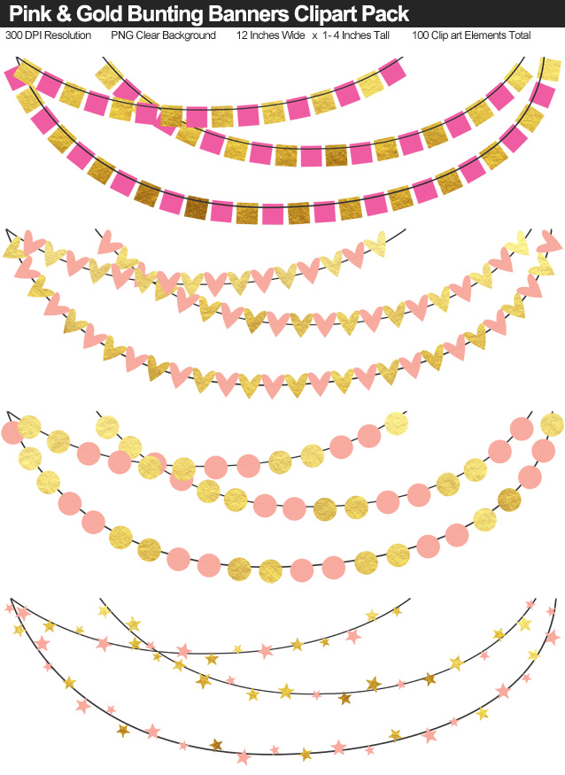 Pink and Gold Bunting Banner Clipart Pack - Clear Background PNG - Large 12 Inches Resizeable