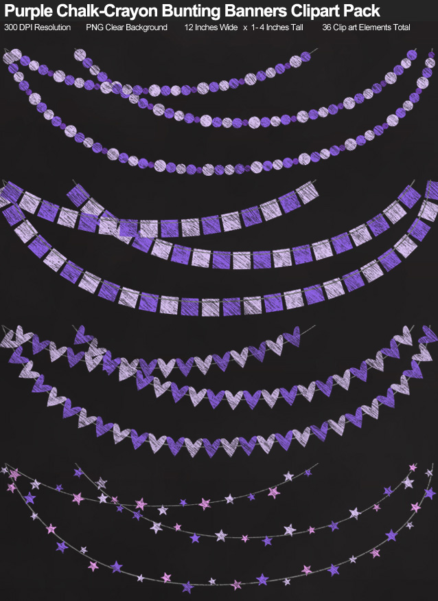Purple Chalk-Style Bunting Banners Clipart Pack