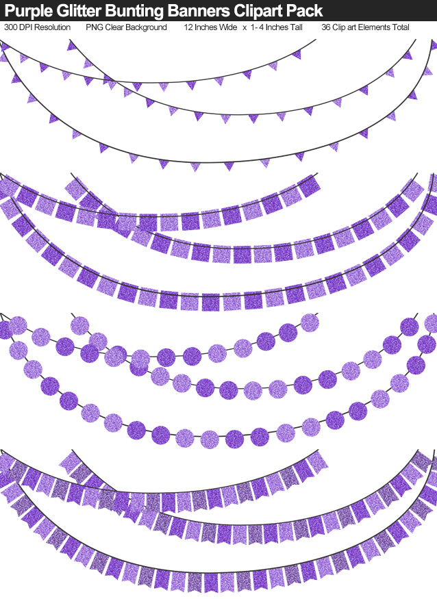 Purple Glitter Bunting Banner Clipart Pack - Clear Background PNG - Large 12 Inches Resizeable