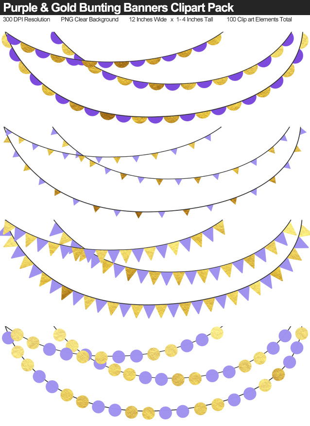 Purple and Gold Bunting Banner Clipart Pack - Clear Background PNG - Large 12 Inches Resizeable