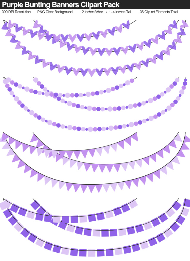Solid Color Purple Bunting Banner Clipart Pack - Clear Background PNG - Large 12 Inches Resizeable