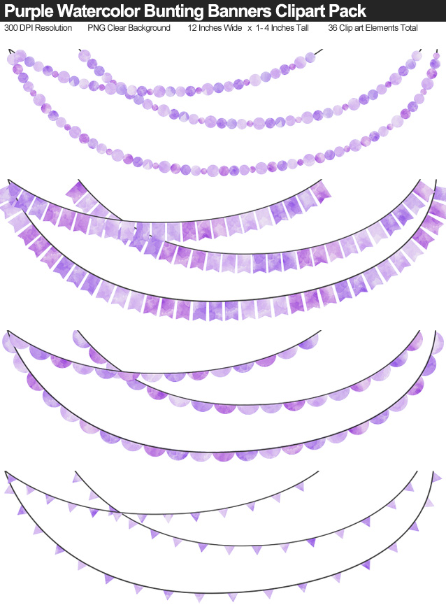 Purple Watercolor Bunting Banner Clipart Pack - Clear Background PNG - Large 12 Inches Resizeable