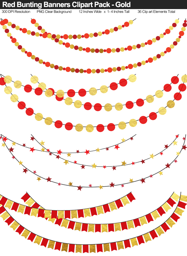 Gold Foil and Red Bunting Banner Clipart Pack - Clear Background PNG - Large 12 Inches Resizeable