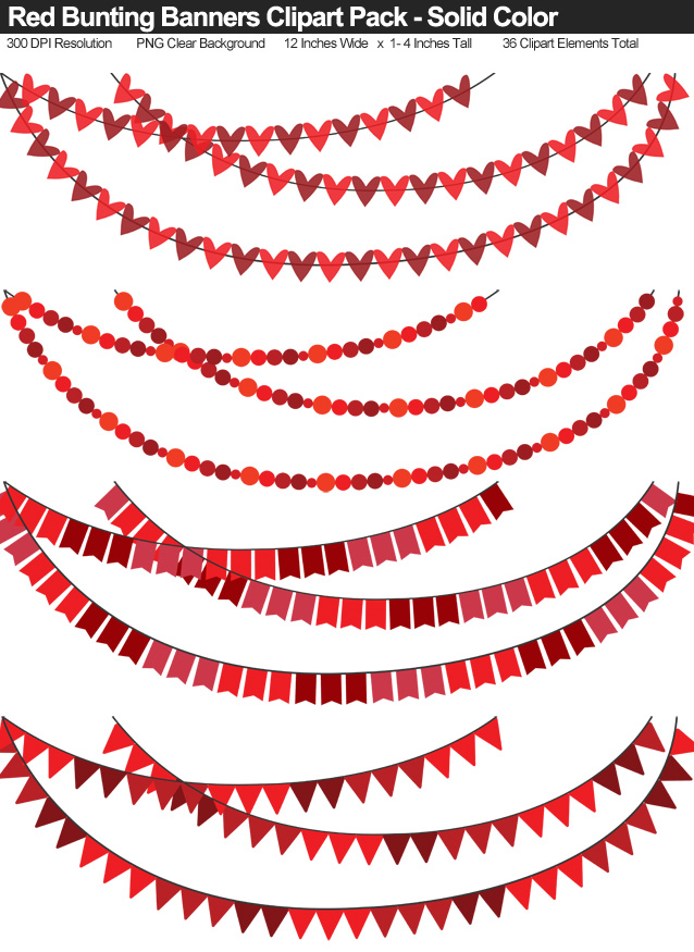 Solid Color Red Bunting Banner Clipart Pack - Clear Background PNG - Large 12 Inches Resizeable