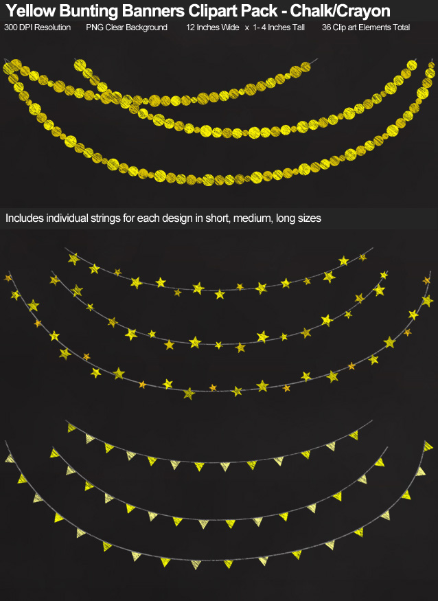 Yellow Chalk-Crayon Bunting Banner Clipart Pack - Clear Background PNG - Large 12 Inches Resizeable