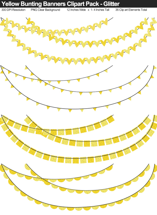 Yellow Glitter Bunting Banner Clipart Pack - Clear Background PNG - Large 12 Inches Resizeable