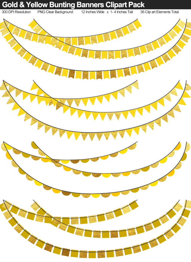 Yellow and Gold Bunting Banner Clipart Pack - Clear Background PNG - Large 12 Inches Resizeable