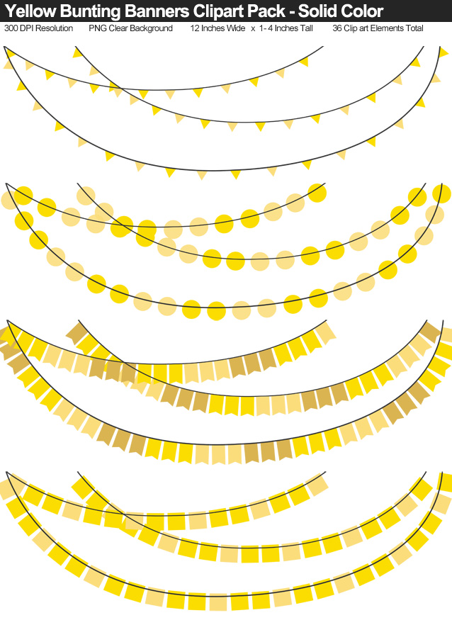 Solid Color Yellow Bunting Banner Clipart Pack - Clear Background PNG - Large 12 Inches Resizeable
