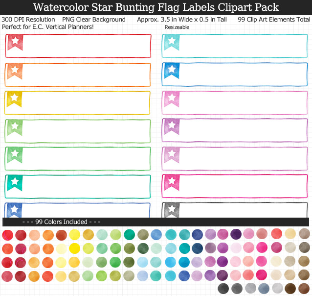 Love this cute set of watercolor star labels to organize my planner! 99 colors