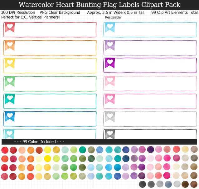 Love this cute set of watercolor heart labels to organize my planner! 99 colors