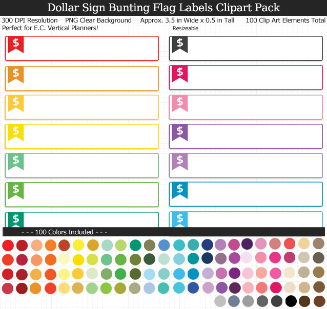 Love this cute set of dollar sign labels to organize my planner! 100 colors