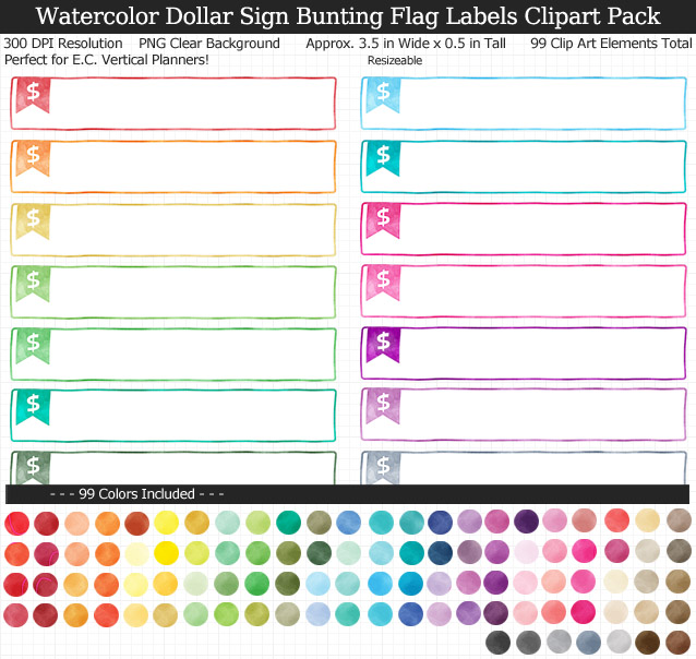 Love this cute set of watercolor dollar sign labels to organize my planner! 99 colors