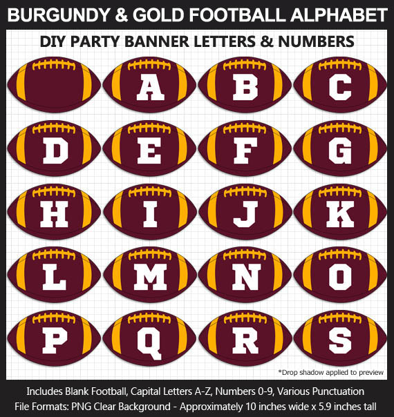 Love these fun Burgundy and Gold Football clipart for game day decoration - Letters, Numbers, Punctuation - Go Washington FT!