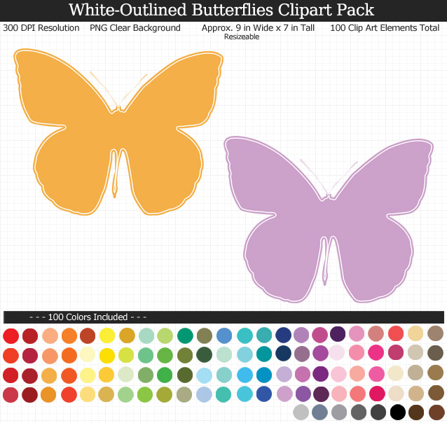 White-Outlined Butterflies Clipart Pack